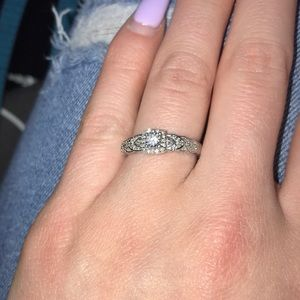 diamond promise ring round cut sterling silver